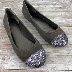 Sperry Annabelle Glitter Cap Toe Ballet suede Flat